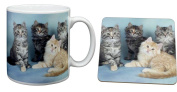 Cat Print Mug and Coaster Set Gift, Ref:AC-56MC