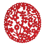 Red Felt Floral Round Placemat