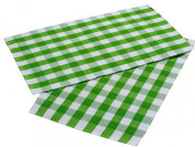 Homescapes - Two - Block Cheque Placemats - Green White Cheque - 100 % Ribbed, hand loom Cotton - 12 x 18 Inch ( 30 x 45 cm ) - Washable at 60 Deg C
