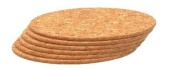 T & G Set x 6 Round Table Mats In Natural Cork.d22x0.6cm