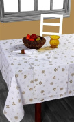 Homescapes - Christmas - Tablecloth - Gold Snowflake - X Mas design - 137cm x 137cm - 100% Cotton - White and Gold Colour - Washable at Home