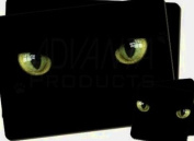 Black Cats Night Eyes Twin Coaster and Placemat Set, Ref:AC-4PC
