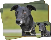 """Black Greyhound Dog """"Yours Forever..."""" Sentiment Twin Leather Coaster and Placemat Gift Set"""