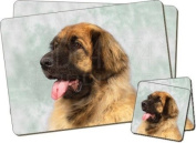 Blonde Leonberger Dog Twin Coaster and Placemat Set, Ref:AD-LE1PC