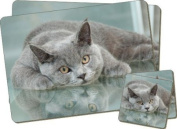 British Blue Cat Twin Coaster and Placemat Set, Ref:AC-11PC
