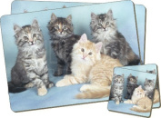 Cat Print Twin Coaster and Placemat Set, Ref:AC-56PC