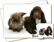 """Cocker Spaniel Dog """"Yours Forever..."""" Sentiment Twin Leather Coaster and Placemat Gift Set"""