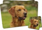 Fox Red Labrador Twin Coaster and Placemat Set, Ref:AD-FRL1PC