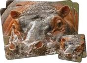 Hippopotamus Twin Coaster and Placemat Set, Ref:AHI-1PC