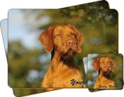 """Hungarian Smooth Haired Vizsla Dog """"Yours Forever..."""" Sentiment Twin Leather Coaster and Placemat Gift Set"""