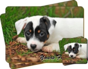 """Jack Russel Terrier Puppy Dog """"Yours Forever..."""" Sentiment Twin Leather Coaster and Placemat Gift Set"""