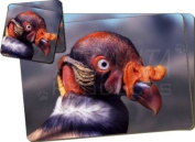 King Vulture Photo Print Twin Coaster and Placemat Set, Ref:AB-66PC