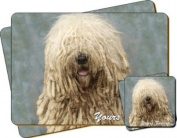 """Komondor Dog """"Yours Forever..."""" Sentiment Twin Leather Coaster and Placemat Gift Set"""