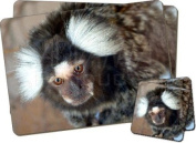 Marmoset Monkey Twin Coaster and Placemat Set, Ref:AM-9PC