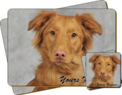 """Nova Scotia Duck Retriever Dog """"Yours Forever..."""" Sentiment Twin Leather Coaster and Placemat Gift Set"""