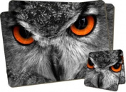 Owl's Face Twin Coaster and Placemat Set, Ref:AB-O8PC
