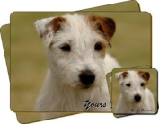 """Parson Russel Terrier Dog """"Yours Forever..."""" Sentiment Twin Leather Coaster and Placemat Gift Set"""