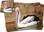 Pelican Print Twin Coaster and Placemat Set, Ref:AB-68PC