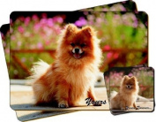 """Pomeranian Dog """"Yours Forever..."""" Sentiment Twin Leather Coaster and Placemat Gift Set"""