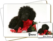 """Poodle Dog """"Yours Forever..."""" Sentiment Twin Leather Coaster and Placemat Gift Set"""