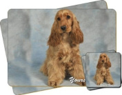 """Red Cocker Spaniel Dog """"Yours Forever..."""" Sentiment Twin Leather Coaster and Placemat Gift Set"""