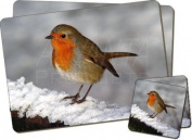 Snow Wall Robin Twin Coaster and Placemat Set, Ref:AB-R15PC