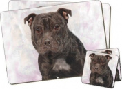 Staffordshire Bull Terrier Twin Coaster and Placemat Set, Ref:AD-SBT4PC
