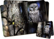 Tree Owl Twin Coaster and Placemat Set, Ref:AB-87PC