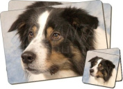 TriCol Border Collie Dog Twin Coaster and Placemat Set, Ref:AD-CO5PC