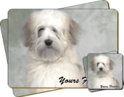 """White Tibetan Terrier Dog """"Yours Forever..."""" Sentiment Twin Leather Coaster and Placemat Gift Set"""