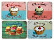 Set of 4 Cupcake / Fairycake Retro Table Mats - Martin Wiscombe Design