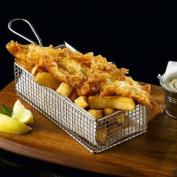 Stainless Steel Rectangular Fryer Serving Basket 21.5 x 10.5 x 6cm | Fish & Chip Basket, Food Presentation Basket
