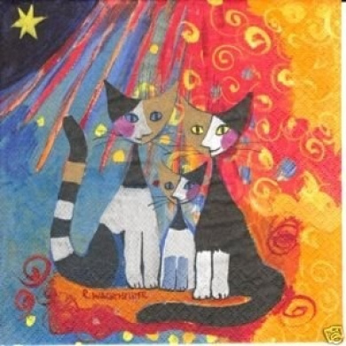 "Rosina Wachtmeister Cat Napkins ""Together"""