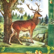IHR Deer Stag in the forest green traditional english paper table napkins serviettes