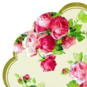 IHR Rondo Round Fluted Japon paper Napkins Serviettes - Victoria cream roses