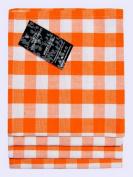 Homescapes - Four - Block Cheque Napkins - Orange White Cheque - 100 % Cotton - 18 x 18 Inch ( 45 x 45 cm ) Easy care table Hand Woven Napkins - Washable at 60 Deg C