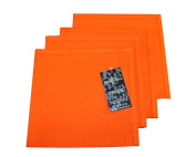 Homescapes - Four - Orange - Napkins - 100% Cotton - 18 x 18 Inch ( 45 x 45 cm ) Easy care table Hand Woven Napkins - Washable at 60 Deg C