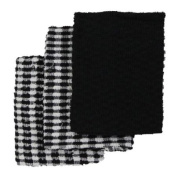 Linens Limited Terry Towelling 100% Cotton Kitchen Tea Towels, Black/White, 3 Pack