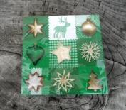 Napkins - Christmas Design Napkins - Green Patchwork