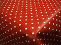 Tiny White Polka Dot on Red PVC Oilcloth Tablecloth 200 x 137cm
