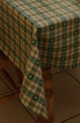 140x140cm SQUARE PVC/VINYL TABLECLOTH - GREEN & CREAM cheque WITH HEARTS