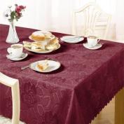 Damask Rose Tablecloth, Wine, 178cm Round Diametre