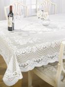 Chantal Lace Woven Tablecloth, White, 127cm x 178cm