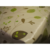 150 CM X 137CM (1.5 METRES) TABLE CLOTH GREEN LEAVES AND STEMS DESIGN WIPE CLEAN VINYL / PVC TABLECLOTH