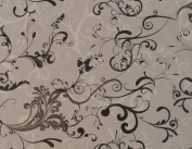 1m PIECE OF PVC/VINYL TABLECLOTH - GREY FLEUR