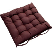 Homescapes - Seat Pad - Chocolate Brown - 40 x 40 cm - Chair Cushion with a Button Tie Handle to fix to Chair - 100% Cotton - Well Filled - Easy Care - Washable At Home