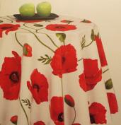 Wipe Clean Tablecloth PVC Vinyl Marrakesh Poppy on White 160cm x 137cm
