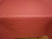 150 CM X 137CM (1.5 METRES) TABLE CLOTH CANDY PINK POLKA DOT DESIGN, WIPE CLEAN VINYL / PVC TABLECLOTH
