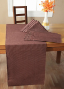 Homescapes - Table Runner - Chocolate Brown - 100% Ribbed Cotton - 17 x 70 Inch ( 44 x 178 cm ) - Easy care - Washable at 60 Deg C