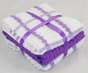 Pack of 6 PURPLE & WHITE Checked 100% Cotton Kitchen Terry Tea Towels